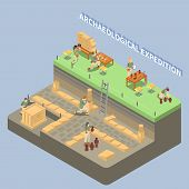 Archeology Isometric Composition With Ancient Remains And Expedition Symbols Vector Illustration poster