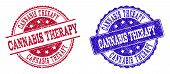 Grunge Cannabis Therapy Seal Stamps In Blue And Red Colors. Stamps Have Draft Style. Vector Rubber I poster