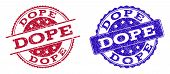 Grunge Dope Seal Stamps In Blue And Red Colors. Stamps Have Draft Texture. Vector Rubber Imitation W poster