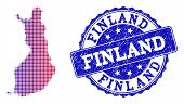 Halftone Dot Map Of Finland And Blue Textured Seal. Vector Halftone Map Of Finland Designed With Reg poster