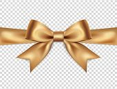 Beautiful Golden Bow Isolated On Transparent Background, Satin Bow For Gift, Surprise, Christmas Pre poster