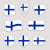 Finland Flag Stickers Set. Finn National Symbols Badges. Isolated Geometric Icons. Vector Finnish Of poster
