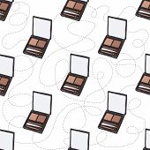 Seamless Pattern, Handdrawn Eyebrow Palette, Makeup Products poster
