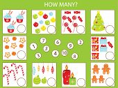 Mathematics Educational Children Game, Kids Activity. How Many Objects Task. New Year And Christmas  poster