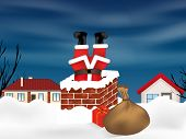 Santa Claus Stuck In The Chimney Upside Down And Sack Full Of Gifts. Winter Snowy Landscape. Christm poster