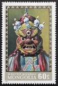 MONGOLIA - CIRCA 1971: a stamp printed in Mongolia shows image of a Buddhist ritual mask, Mongolia,