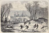 stock photo of ox wagon  - Antique illustration of ice workers in the Mezzo lake - JPG