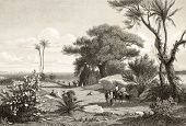 stock photo of marsala  - Old engraving shows image of  Marsala surroundings - JPG