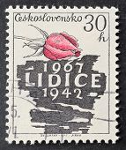CZECHOSLOVAKIA - CIRCA 1967: a stamp printed in  Czechoslovakia celebrates twenty-fifth anniversary