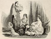 stock photo of algiers  - Antique illustration of a jewess family in Algiers - JPG