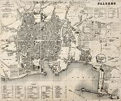 Antique map of Palermo, Italy, bearing 76 numbered marks for places description. Was created by Wagn