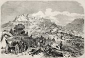 Garibaldi's troops camp near Castrogiovanni (Enna), during expedition of Thousand in Sicily. From dr