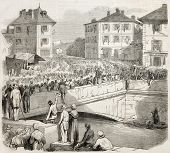 Antique illustration shows French troops entering in Chambery, capital of Savoy. Original, from draw