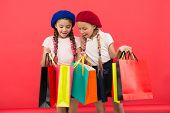Shopaholic Concept. Signs You Are Addicted To Shopping. Kids Cute Schoolgirls Hold Bunch Shopping Ba poster
