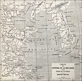 pic of bonaparte  - Old Yellow sea coast map - JPG