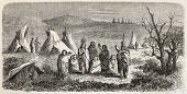 Old illustration of Sioux encampment. Created by Lancelot, after sketch of De Girardin, published on