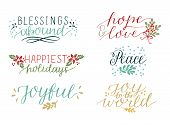 Collection With 6 Colorful Holiday Cards Made Hand Lettering Blessings Abound. Peace. Joy To The Wor poster
