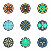 Army Target Icon Set. Flat Set Of 9 Army Target Icons For Web Design poster
