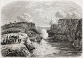 Old illustration of French steamer Basilic arrival in Senegal, through Kippes pass, going to help Me