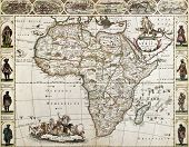Africa old map. Created by Frederick De Wit, published in Amsterdam, 1660 poster