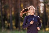 Running Woman. Female Runner Jogging Outdoors In The Park. Fitness, Sport And Weight Loss Concept poster