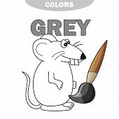 Learn The Color Gray - Things That Are Gray Color - Mouse - Coloring Book. Illustration Of Primary C poster
