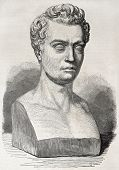 Old illustration of marble bust of Jean-Baptiste Gustave Planche, French art and literary critic. Cr