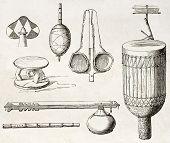 Постер, плакат: Ouajiji посуда и предметы старой иллюстрация племя Восточной Африки Созданный Бертон опубликованные o