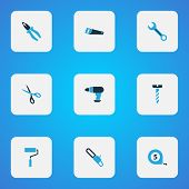 Tools Icons Colored Set With Wrench, Scissors, Bolt And Other Tool Elements. Isolated Vector Illustr poster