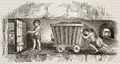 Children working as coal miners, pulling a cart. By unidentified author, published on Magasin Pittor