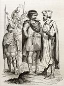 picture of courtier  - Charles the Bald courtiers old illustration - JPG