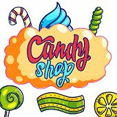 Candy Shop Hand Drawn Vector Logo Design. Hand Written Lettering On Orange Bubble Gum For Sweets Bar poster