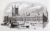 Westminster palace old view, London, By unidentified author, published on Magasin Pittoresque, Paris