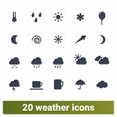 Weather Forecast, Climate Conditions, Seasonal Changes Vector Icons Collection. Environment, Atmosph poster