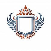 Blank Heraldic Coat Of Arms Decorative Emblem With Copy Space And Cartouche. Empty Winged Protection poster