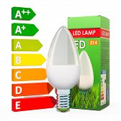 Saving Energy Consumption Concept. Energy Savings Led Lamp With Cardboard Box. 3d Rendering Isolated poster