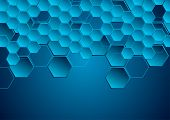 Dark Blue Hi-tech Geometric Abstract Background. Vector Futuristic Design poster