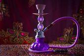 hookah smoking pipe also called shisha smoke purple glass poster