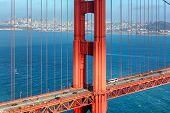 San Francisco Skyline And Golden Gate Bridge At Sunset, San Francisco, California. poster