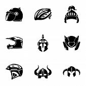 Crash Helmet Icons Set. Simple Set Of 9 Crash Helmet Vector Icons For Web Isolated On White Backgrou poster