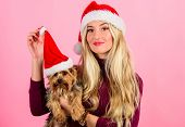 Ways To Have Merry Christmas With Pets. Woman And Yorkshire Terrier Wear Santa Hat. Girl Attractive  poster