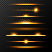 Gold Glowing Lines With Stars Set. Shining Line Set. Golden Realistic Lens Flare Set. Collection Of  poster