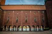 Courtyard In Stockholm City Hall Building (stadshuset) Of Municipal Council And Nobel Prize With Vie poster