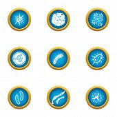 Attack Of The Microbe Icons Set. Flat Set Of 9 Attack Of The Microbe Icons For Web Isolated On White poster