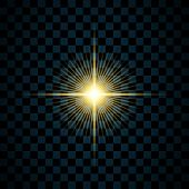 Sparkle Gold Star, Isolated Transparent Background. Glow Shine Effect. Golden Magic Burst With Glitt poster
