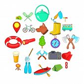 Terrain Icons Set. Cartoon Set Of 25 Terrain Icons For Web Isolated On White Background poster