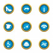 Urban Culture Icons Set. Flat Set Of 9 Urban Culture Icons For Web Isolated On White Background poster