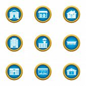 Cultural Building Icons Set. Flat Set Of 9 Cultural Building Icons For Web Isolated On White Backgro poster