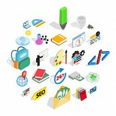 Chemical Substance Icons Set. Isometric Set Of 25 Chemical Substance Icons For Web Isolated On White poster
