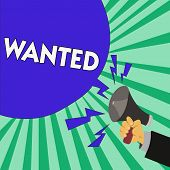 Text Sign Showing Wanted. Conceptual Photo Desire Something Wish Want Hoping For Somebody Being Sear poster